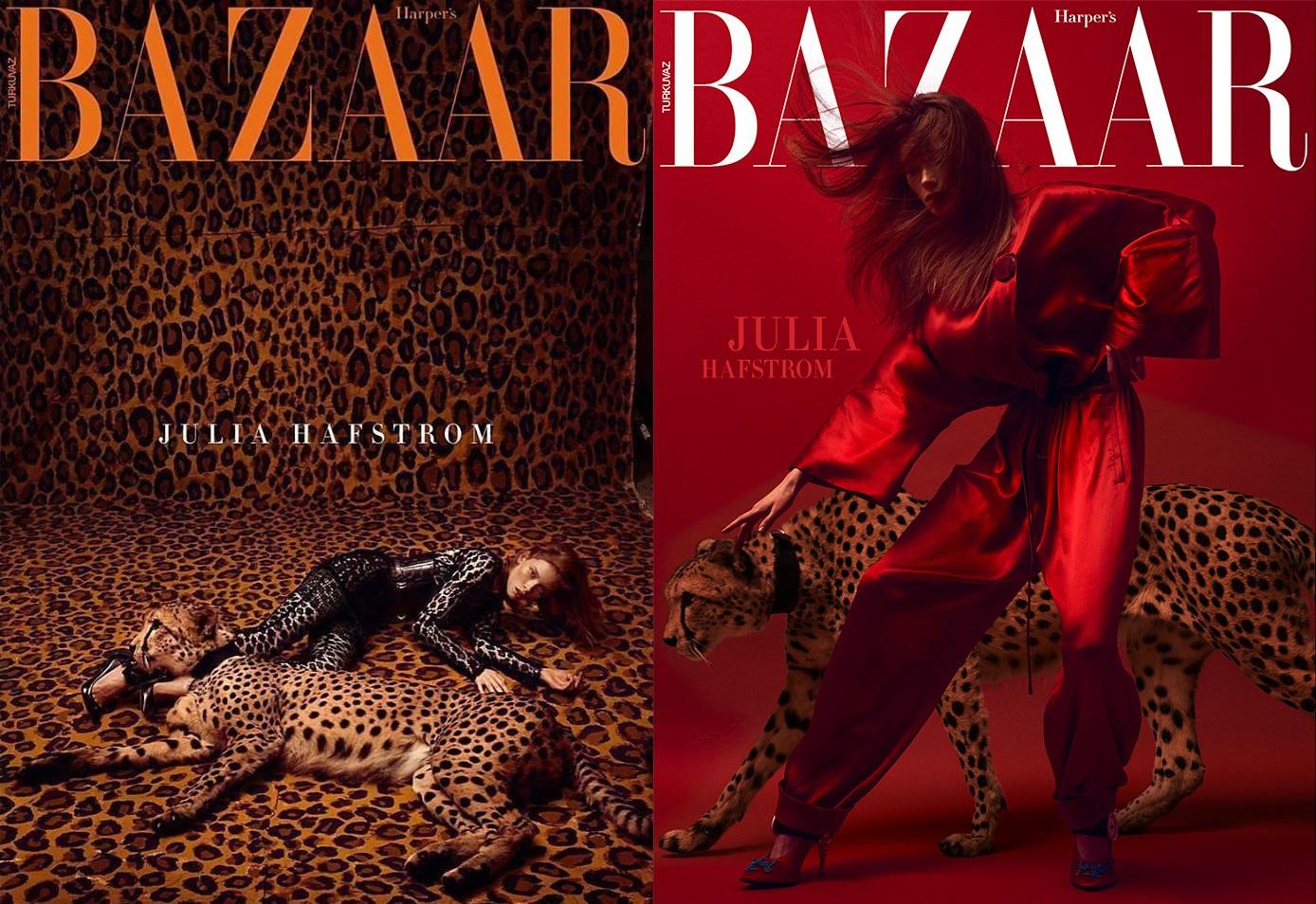Harper's Bazaar杂志土耳其版:豹子与时尚豹纹女人,由时尚摄影Kristian Schuller掌镜,模特由Julia Hafstrom出境演绎。...